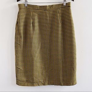 Vintage yellow & black houndstooth pencil skirt
